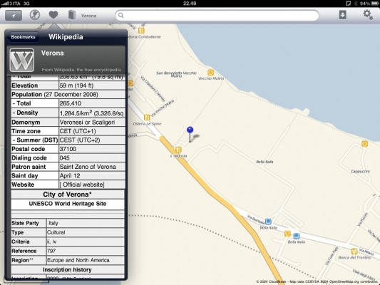 Wikipedia su Offmaps per iPad