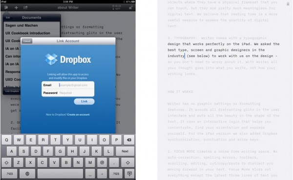 Dropbox su iA Writer per iPad