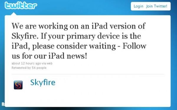 Tweet di Skifire per iPad