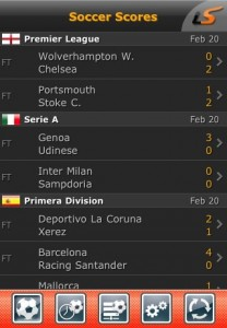 LiveScore per tablet iPad