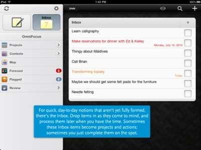 Schermata principale di Omnifocus per iPad