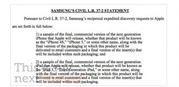 Samsung risponde alla denuncia di Apple chiedendo i prototipi di iPhone 5 e iPad 3