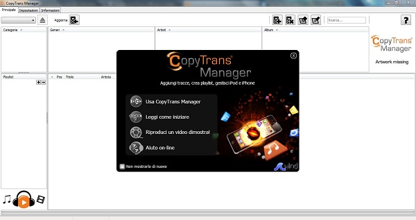 CopyTrans Manager, programma alternativo a iTunes per PC