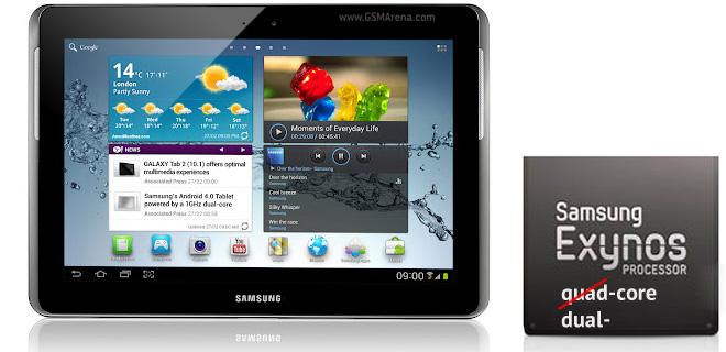Samsung nega le voci sul Galaxy Tab 2 10.1 con processore quad core