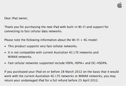 Apple modifica la descrizione del 4G del nuovo iPad in Australia