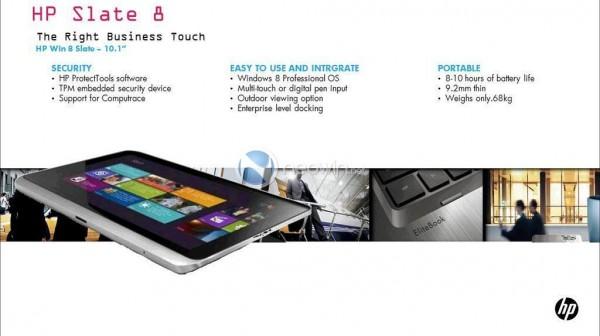 HP Slate 8 sarà da 10 pollici con sistema operativo Windows 8 Professional