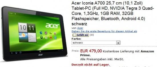 Acer Iconia Tab A700 in prevendita in Germania a 479 euro