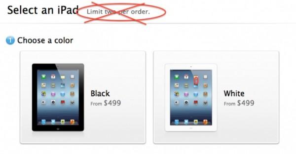Apple: dall'11 giugno stop ai limiti di vendite del nuovo iPad