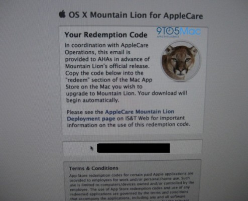 Mac OX X 10.8 Mountain Lion distribuito al personale dell'Apple Care