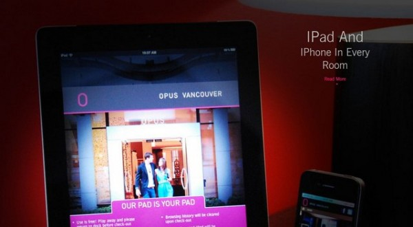Apple iPad e iPhone presenti nell'Opus Hotel di Vancouver
