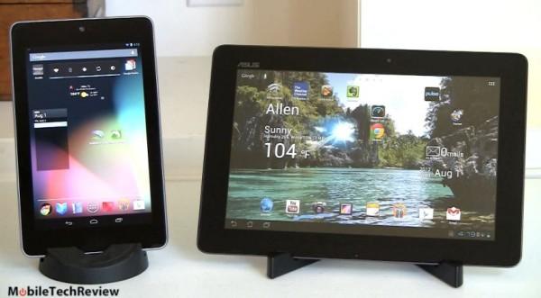 Google Nexus 7 a confronto con l'Asus Transformer Pad TF700T in un video