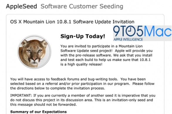 Gli sviluppatori riceveranno presto l'aggiornamento OS X 10.8.1 Mountain Lion
