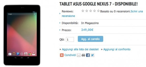 Google Nexus 7 disponibile in Italia sul sito ufficiale di Asus