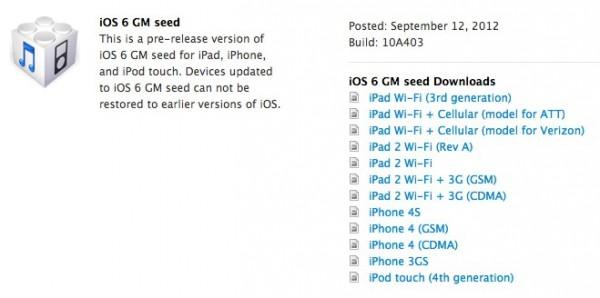 Apple rilascia iOS 6 Golden Master agli sviluppatori