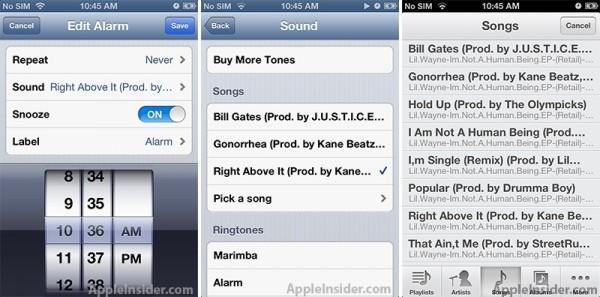 Apple iOS 6 supporta la sveglia con le canzoni personali