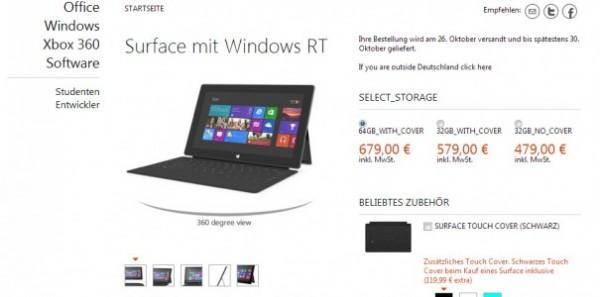 Microsoft Surface: prezzi dei vari modelli con Windows 8 RT