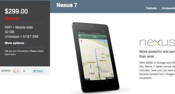 Google Nexus 7: il modello HSPA+ già esaurito nel Play Store statunitense