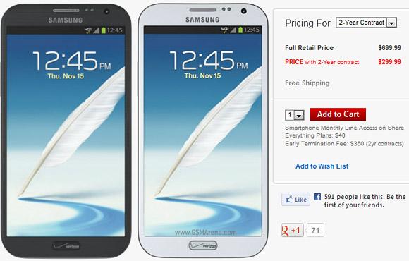 Samsung Galaxy Note 2 in vendita negli USA con l'operatore Verizon