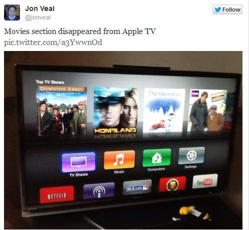 Apple TV: icona dei film spariscono a causa di un problema server