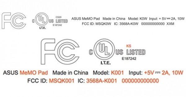 ASUS MeMo Pad: nuovi modelli certificati dalla FCC