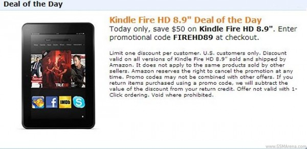 Amazon Kindle Fire HD 8.9 scontato negli USA a 249 dollari