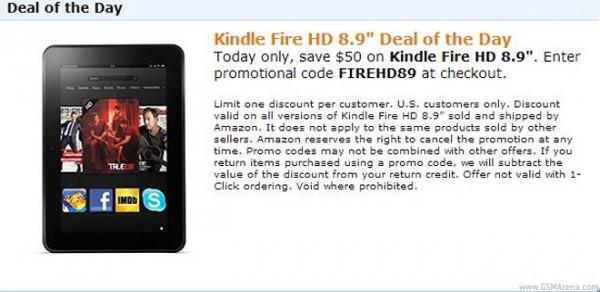 Amazon Kindle Fire HD 8.9 scontato negli USA a 249 dollari