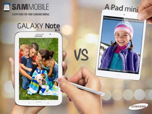 Samsung spiega perchè il Galaxy Note 8.0 è migliore dell'iPad Mini