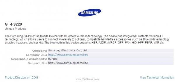 Samsung Galaxy Tab 3 Plus compare sul sito Bluetooth.org