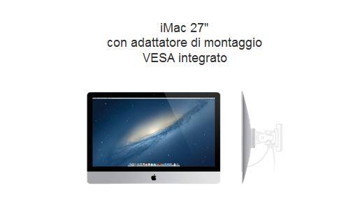 Apple nuovo iMac: opzione adattatore VESA disponibile al momento dell'acquisto