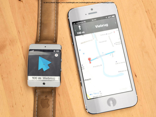 Apple iWatch: concept sul possibile utilizzo con l'app Mappe di iOS 7