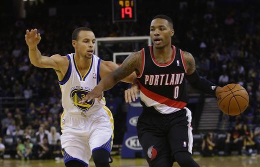 Stephen-Curry-e-Damian-Lillard-durante-la-gara-di-preseason-tra-Golden-State-Warriors-e-Portland-Trail-Blazers