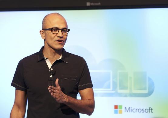 Microsoft CEO Satya Nadella speaks at a Microsoft event in San Francisco