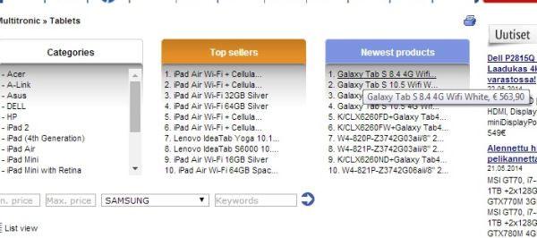 Samsung Galaxy Tab S: ecco i prezzi di vendita dei tablet AMOLED