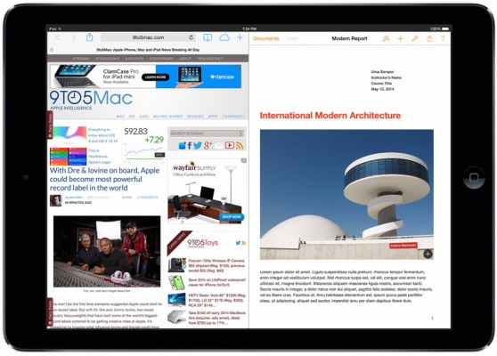 Apple iOS 8: multitasking su iPad di due app contemporaneamente