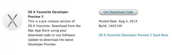 OS X Yosemite Beta 5: download ed elenco delle novità