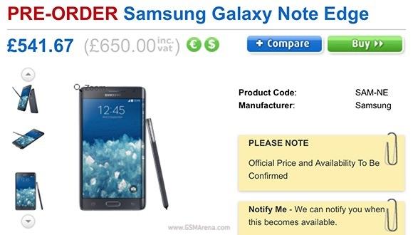 Samsung Galaxy Note Edge: ecco il prezzo per il Regno Unito
