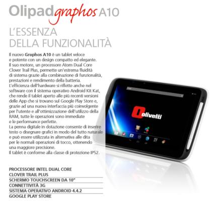 Olivetti Olipad Graphos A10: caratteristiche nuovo tablet professionale
