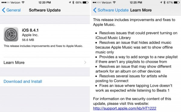 Apple iOS 8.4.1: download e novità dell'aggiornamento