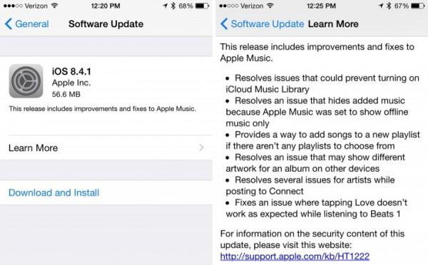 Apple iOS 8.4.1: download e novità dell'aggiornamento