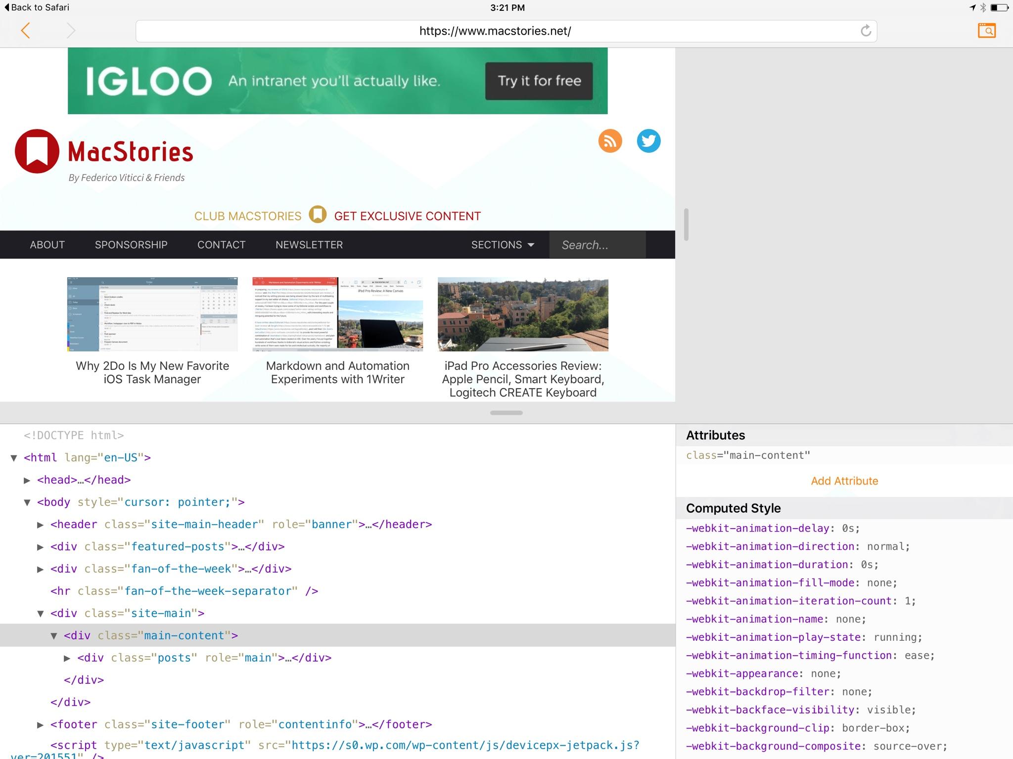 ergo web tools arriva l app per lo sviluppo web da ipad. Black Bedroom Furniture Sets. Home Design Ideas
