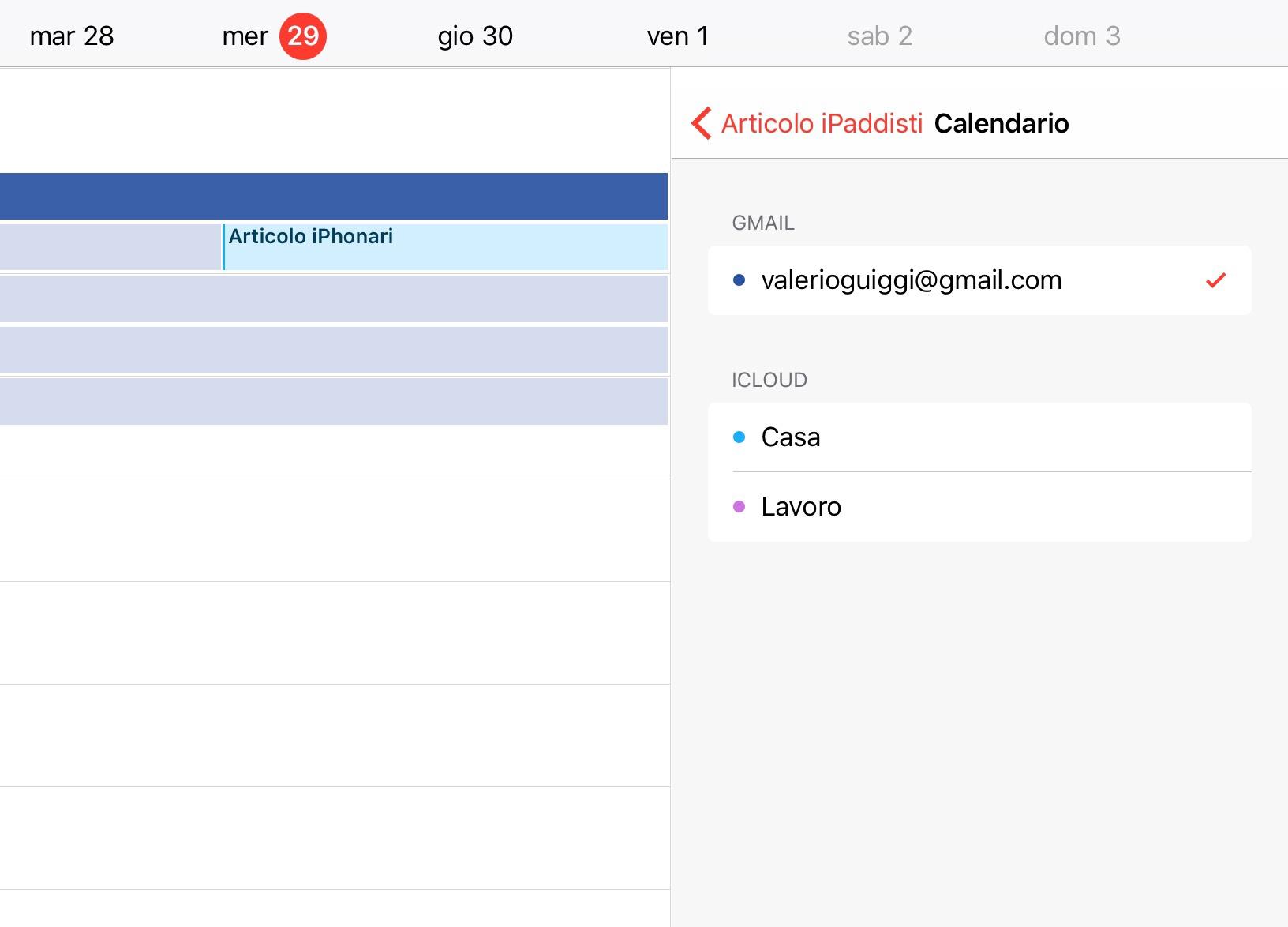 Come trasferire un evento dal calendario iCloud al calendario di Gmail su iPad