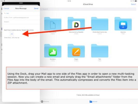 Come creare file .zip sull'app Files di iPad