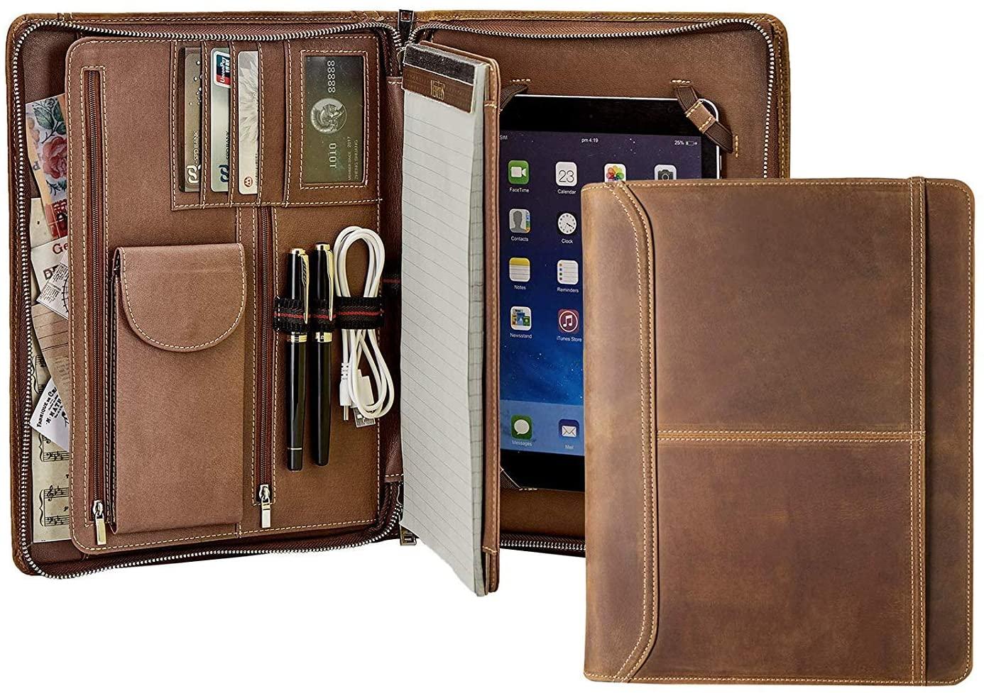Portafoglio vintage in vera pelle per iPad Pro